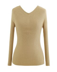 Seamless V-Neck Ribbed Knit Top in Camel