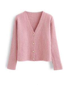 Cozy V-Neck Ribbed Knit Cardigan in Pink