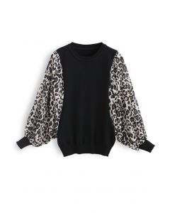 Leopard Chiffon Batwing Sleeves Knit Top in Black