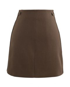 Double Buttons Bud Mini Skirt in Caramel