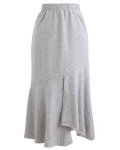 Asymmetric Frilling Sweat Skirt in Grey