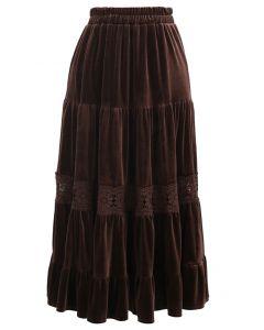 Velvet Crochet Spliced Pleated Skirt in Brown