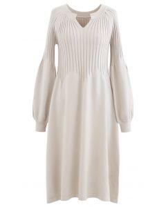 V-Neck Flared Rib Knit Midi Dress in Sand
