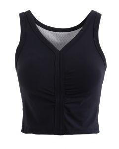 V-Neck Low-Impact Sports Bra in Black
