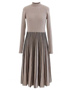 Contrast Lines Fitted Rib Knit Midi Dress in Tan