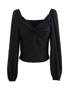 Twist Front Shirred Back Crop Top in Black