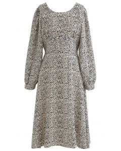 Dots Print Scoop Neck Sleeves Midi Dress in Ivory