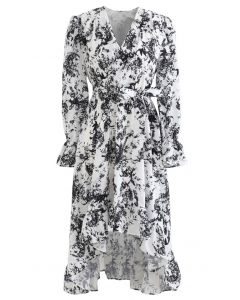 Floral Wrap Bowknot Waterfall Hem Dress in Black