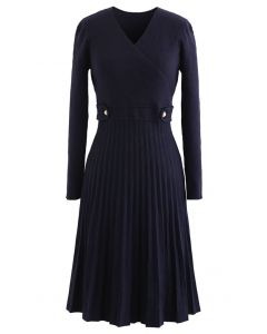 Button Embellished Wrap Pleated Knit Dress in Navy