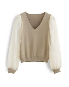Organza Mesh Sleeves V-Neck Knit Top in Camel