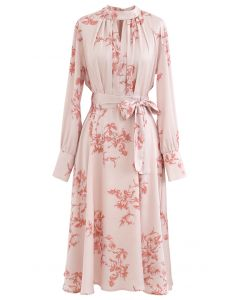 Grab the Spotlight Floral Bowknot Satin Dress in Pink