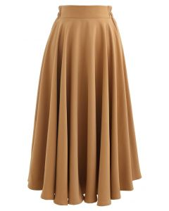 Solid Color Elastic Waist Flare Midi Skirt in Caramel