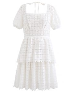 Full of Heart Crochet Square Neck Dress in White