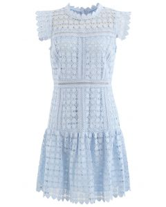 Full of Heart Crochet Sleeveless Dress in Blue