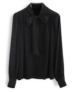 Lacy Edge Bowknot Textured Satin Top in Black