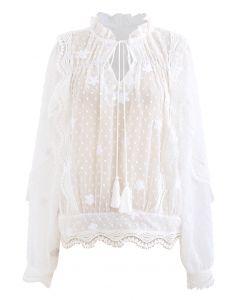 Crochet Wavy Flock Dot Tassel Organza Top in White