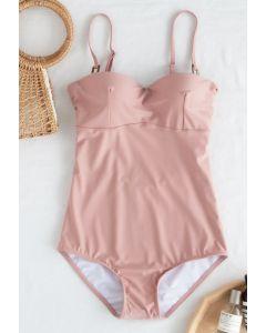 Maillot de bain une pièce bustier dos ouvert en rose