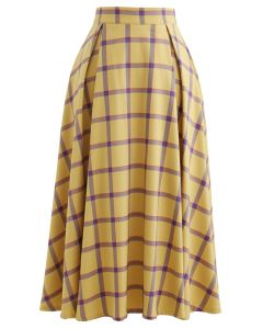 Grid A-Line Midi Skirt in Yellow