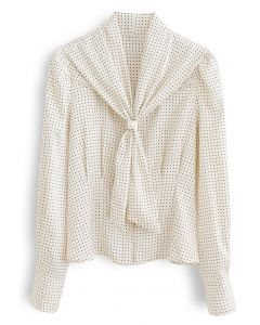 Pearl Tie Knot Polka Dots Shirt in Cream