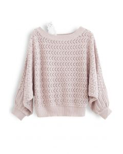One-Shoulder Strap Eyelet Knit Sweater in Dusty Pink