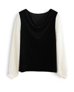 Velvet Drape Neck Versatile Shirt in Black