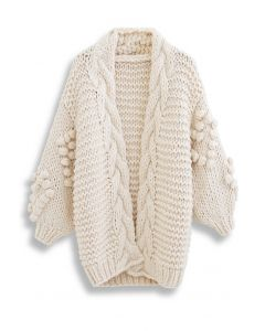 Hand-Knit Pom-Pom Braid Chunky Cardigan