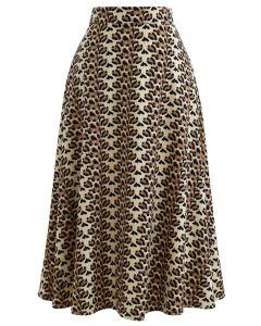Brown Petal A-Line Midi Skirt