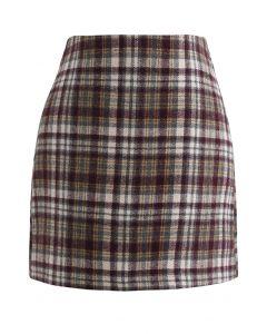 Plaid Wool-Blend Bud Skirt in Brown