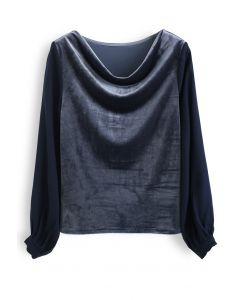 Velvet Drape Neck Versatile Shirt in Dusty Blue