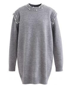 Pearl Decoration Longline Sweater in Grey