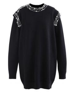 Pearl Decoration Longline Sweater in Black