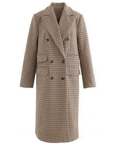 Houndstooth Double-Breasted Wool Blend Longline Coat in Tan