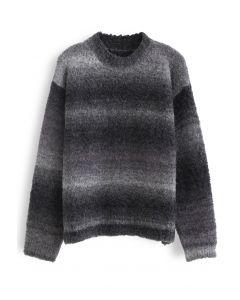 Ombre Striped Oversized Knit Sweater in Smoke