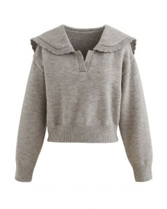 Peter Pan V-Neck Knit Crop Sweater in Taupe