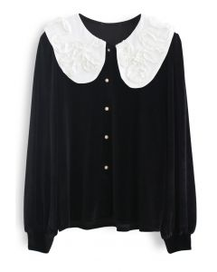 Solid Ruffle Collar Button Down Velvet Top