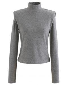 Haut en molleton à col montant et épaules rembourrées en gris