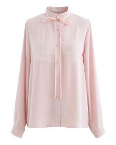 Ribbon Tie Mesh Neck Satin Shirt in Pink