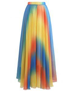 Jupe longue en mousseline tie dye en jaune
