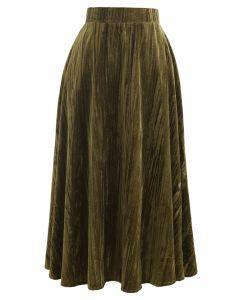 Jupe mi-longue en velours à ourlet évasé en vert mousse