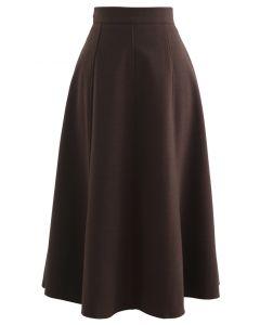 Jupe mi-longue en laine mélangée de couleur unie en marron
