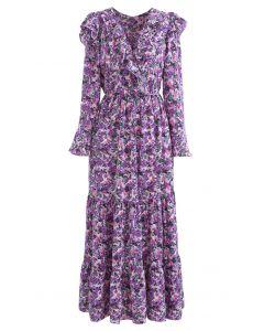 Bright Bloom - Robe longue cache-cœur à volants en violet