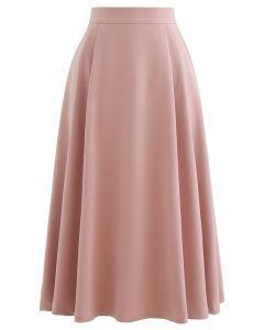 Jupe mi-longue évasée plissée en rose clair
