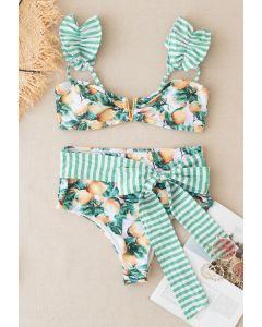Ensemble de bikini bowknot rayé à imprimé citron