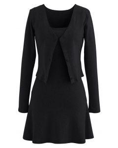 Robe Twinset Boutonnée à Col V en Coton Mélangé en Noir