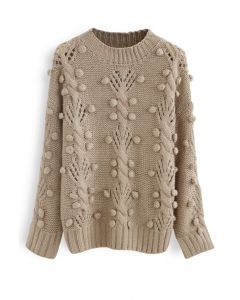 Cable Pom-Pom Eyelet Knit Sweater in Tan