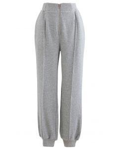 Pantalon de jogging zippé avec poche latérale sur le devant en gris