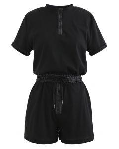 Ensemble top court avec cordon de serrage et short en noir