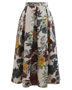 Jupe mi-longue plissée à imprimé floral rétro