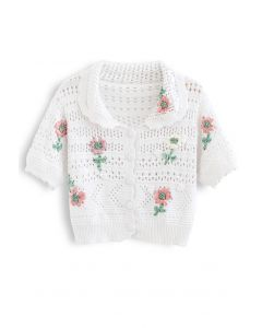 Hand-Knit Flower Eyelet Knit Cardigan in White