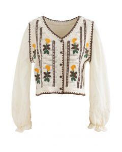 Embroidered Crochet Spliced Sleeves Cardigan